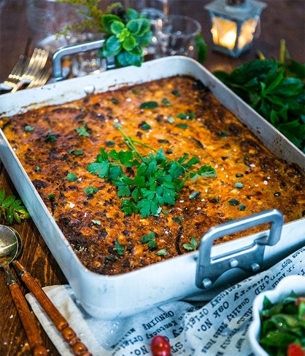 Moussaka med aubergine och fetaost