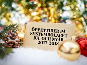 Öppettider Systembolaget jul och nyår 2017-2018