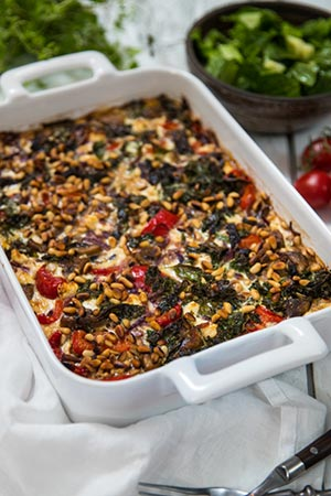 Vegetarisk gratäng med grönkål och fetaost